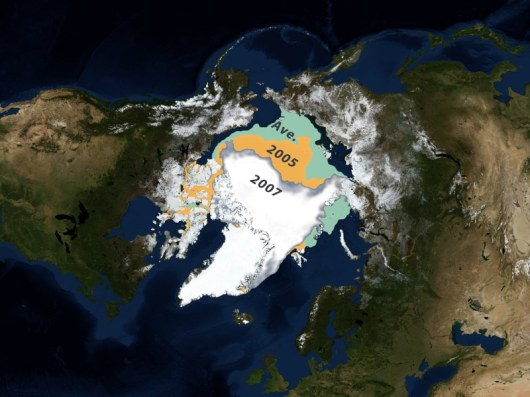 Minimum sea ice comparison: 2005, 2007 and the 1979-2007 average